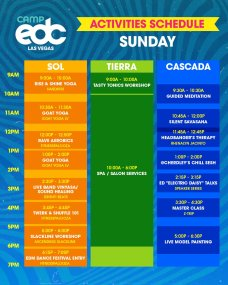 Camp EDC 2019 Activities Schedule - Sunday