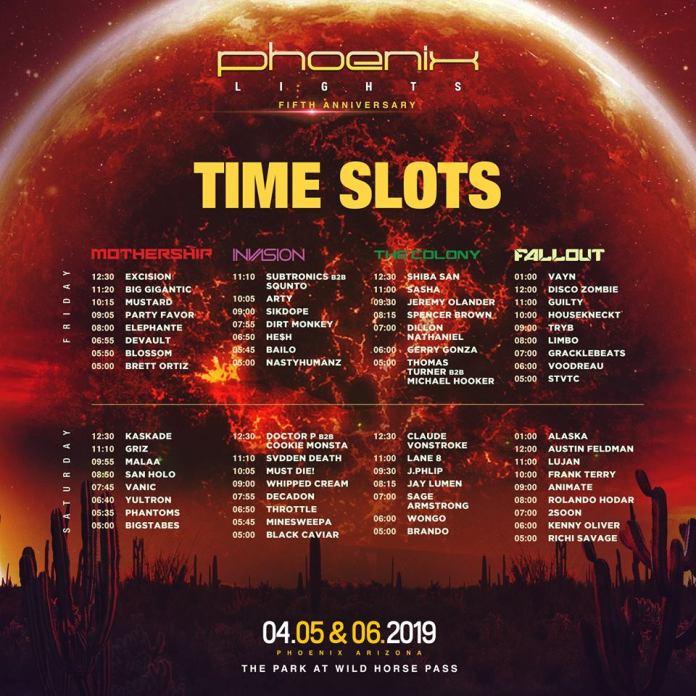 Phoenix Lights 2019 Set Times