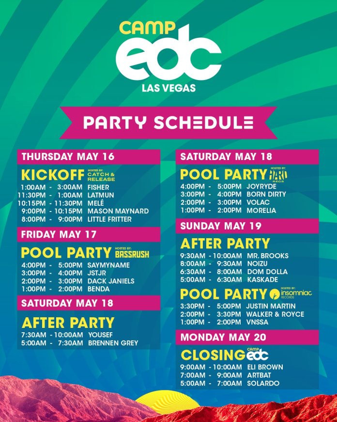 Camp EDC 2019 Party Schedule