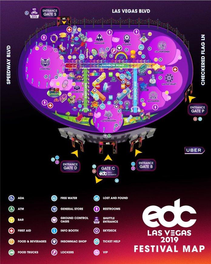 EDC Las Vegas 2019 Festival Map
