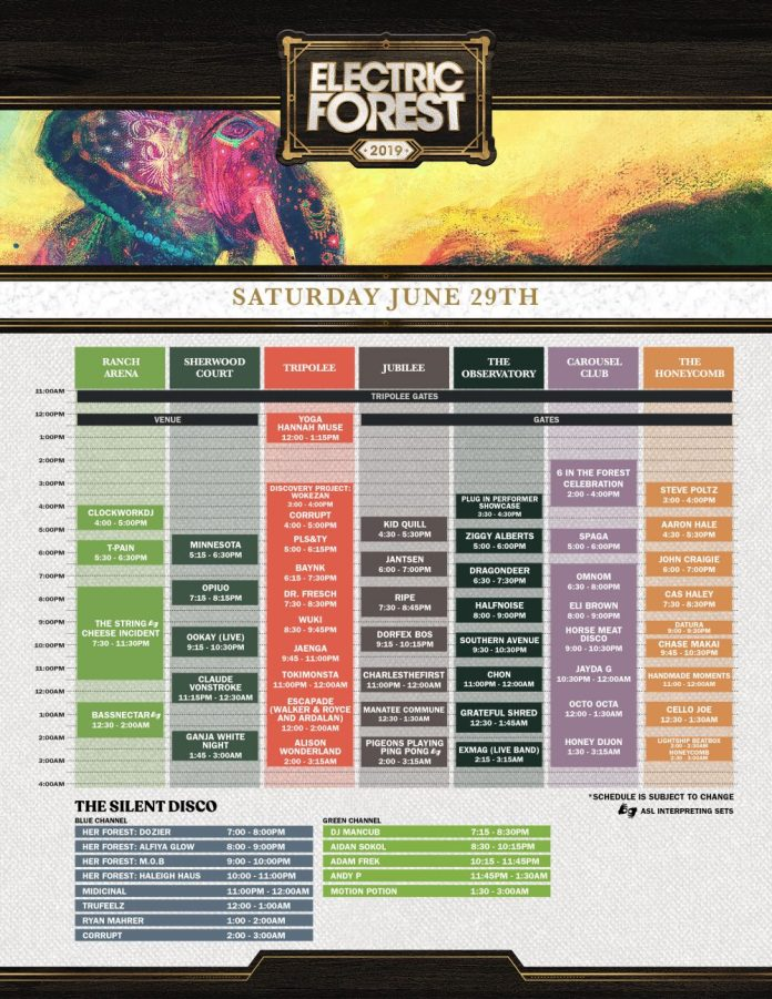 Electric Forest 2019 Set Times Sunday