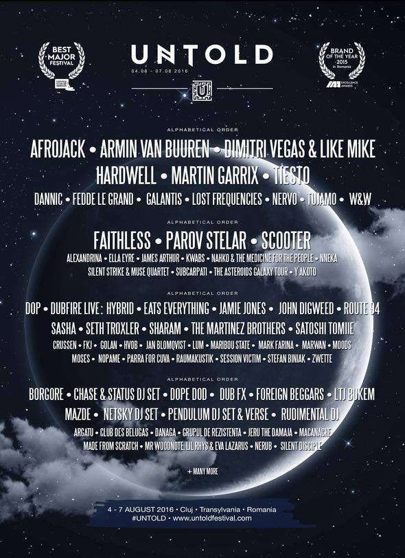 untold festival 2016 line up