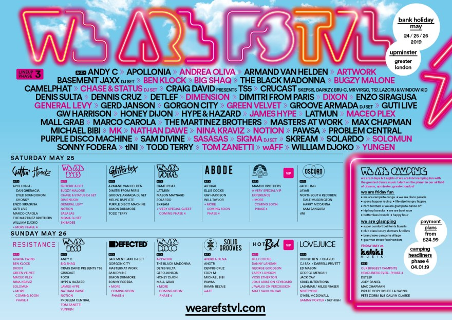 We Are FSTVL 2019 Lineup Flyer
