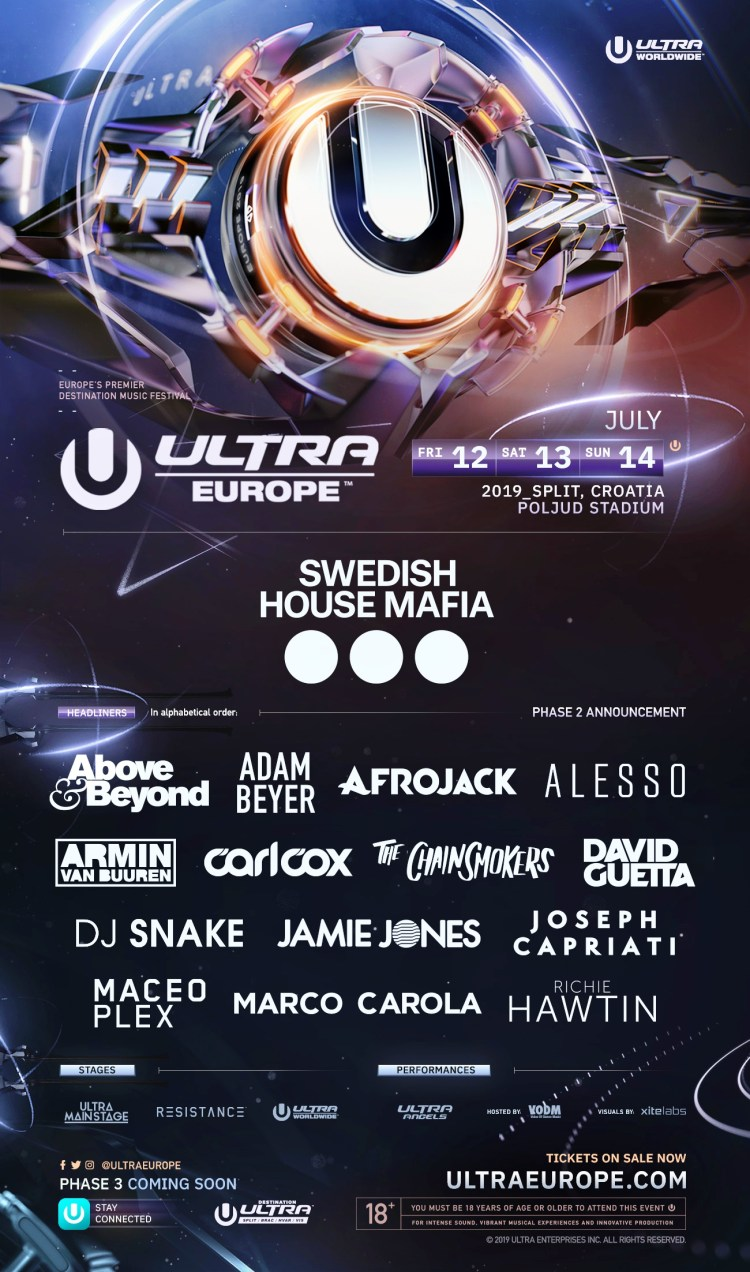 Ultra Europe 2019 Phase Two Lineup Flyer