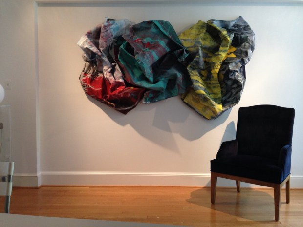 Washington DC interdisciplinary installation artist Edmond van der Bijl. 3d canvas on wall.