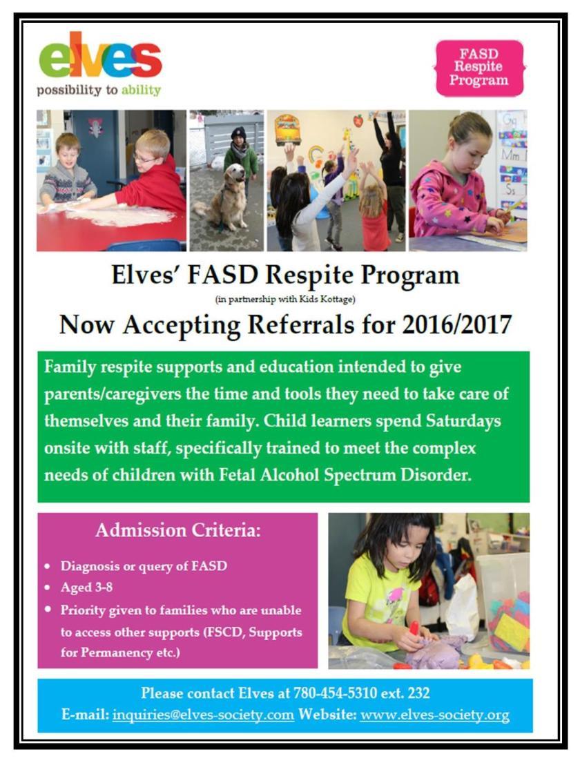 Elves' FASD Respite Program
