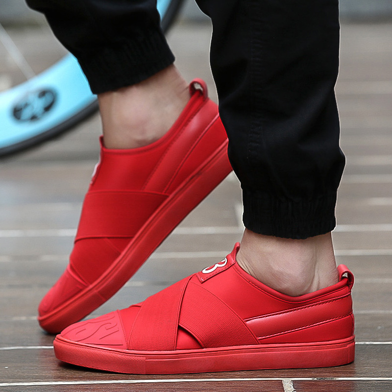 youth-stylish-walking-skate-shoes-for-man-s-green-red-black-color-stretch-fabric-loafers-mens
