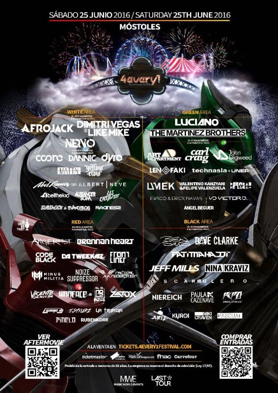 cartel-definitivo-4every1-2016-EDMred Plano, zonas vip y mucho más de 4EVERY1 Festival 2016