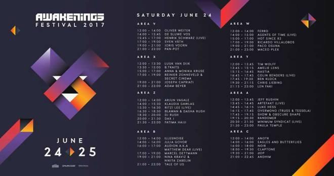 horarios-sabado-awakenings-2017-EDMred Horarios al completo de Awakenings Festival 2017