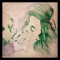 Upsidedown kiss green