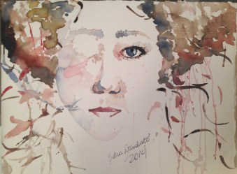 watercolor, ink and acrylic in paperboard SOLD