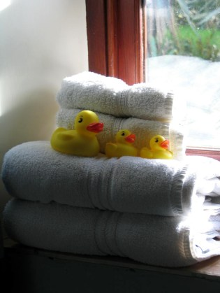 Fluffy white towels and waiting ducks in our en suite bathrooms