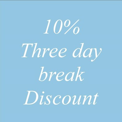 10% discount for three day breaks - special offer text -Ednovean Farm
