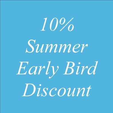 10% Early Bird discount - special offer text blue gound