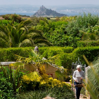 A view over the garden at Ednovean Farm to St Michael's Mount