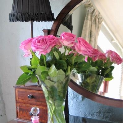 Pink roses on luxury B&B dressing table