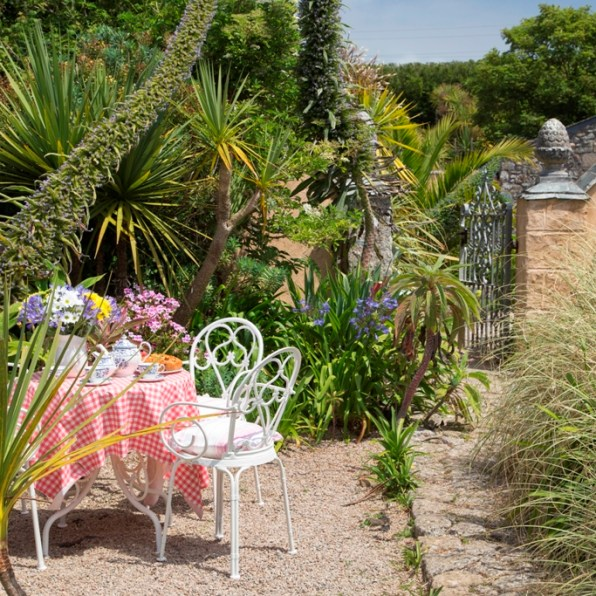 General info with a welcoming afternoon tea laid in the garden for new Bed and Breakfast guest at Ednovean Farm
