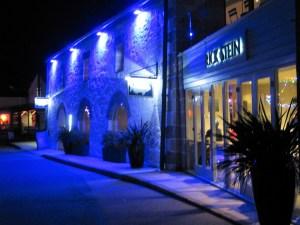blue light on harbour fish restaurant
