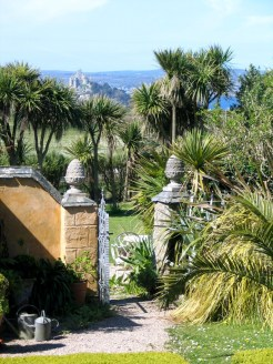 A view from the courtyard to St Michael's Mount
