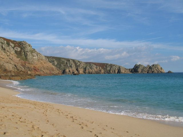 beautiful sandy beach Porthcurno