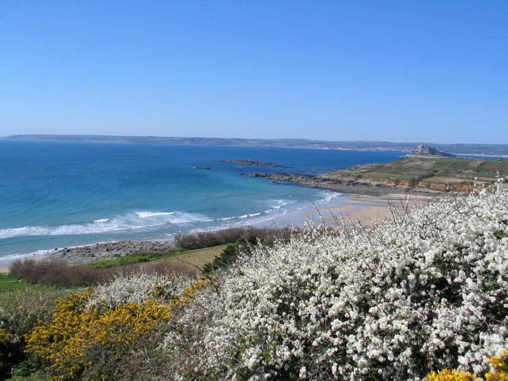 Walking east of Ednovean Farm on clifftops full of spring flowers, above Mounts Bay