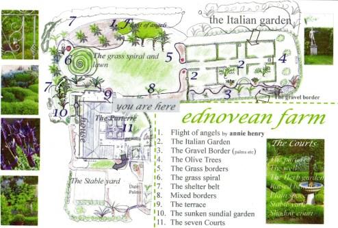 Garden map for Ednovean Farm gardens in West cornwall