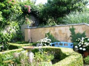 """The """"birdie garden with rambling roses cascading over a neighbor's wall"""