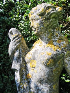 Garden statue covered in lichen