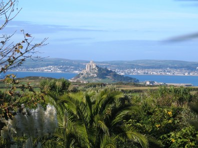 October and looking down across oru garden toward St Michael's Mount and Penzance across Mounts Bay