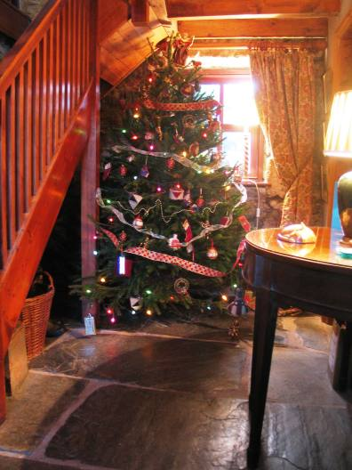 Welcoming entrance hall with Christmas tree