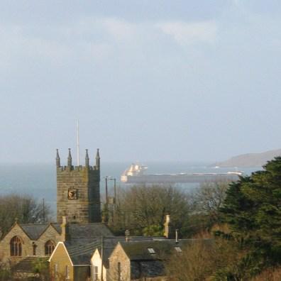 Perranuthnoe Church and Mounts Bay in Winter