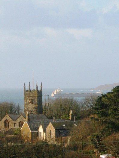 Perranuthnoe Church and Mounts Bay in Winter