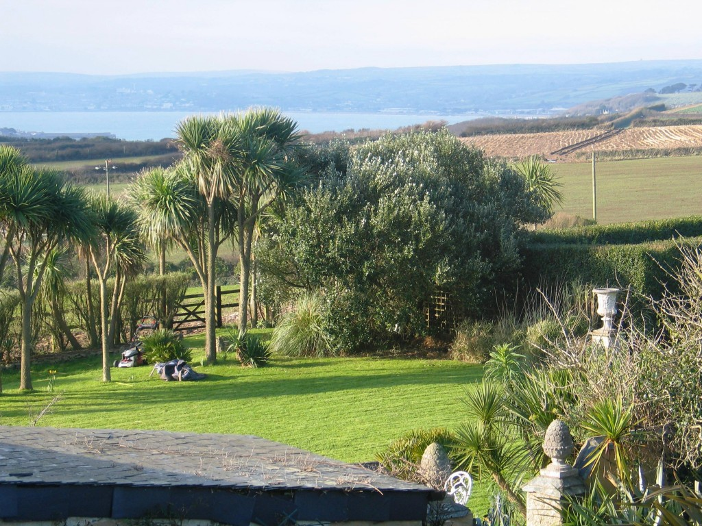 Ednovean Farm lawn with Mounts Bay beyond