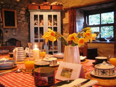 Farmhouse breakfast ready for B&B guests