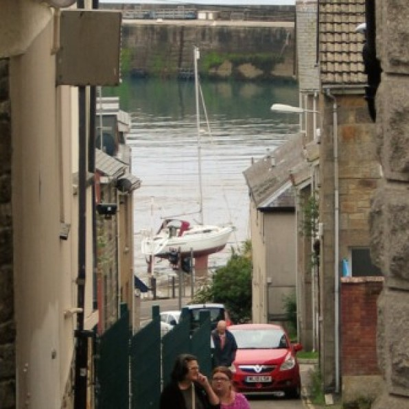 Looking down from Penzance's Market Jew street to the harbour