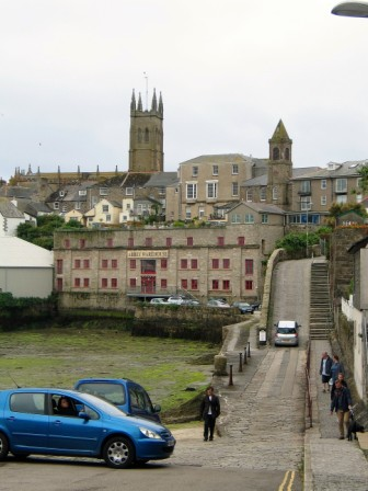 Penzance dry dock with a slip way leading to Chapel Street