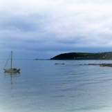 There was a solitary yacht lying just off of Mousehole
