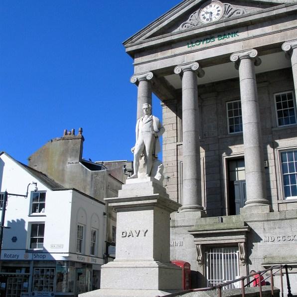 Humphrey Davy statue in Market Jew street in Penzance