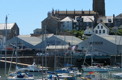 Penzance harbour full of pleasure craft backed by the lovley old buildings of the town