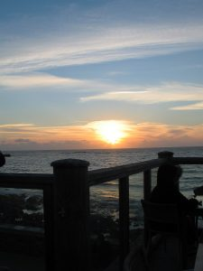 Sunset from our table at Ben Tunnicliffe restaurant