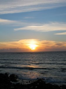The sun setting over the sea as we ate our supper at ben Tunicleffe's restaurant in West Cornwall
