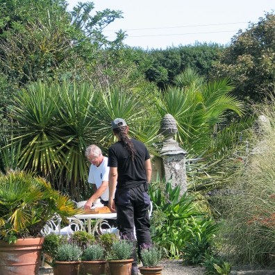 Charles clearing gardeners lunchtime with Cam who cuts the hedges