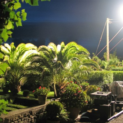 Massive stium style lights backlit our garden ready for filming