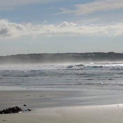 salt vapour hanging above the sea near the beach