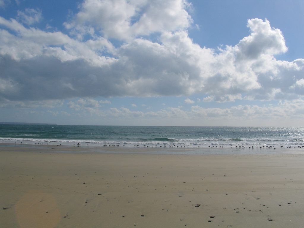 perfect golden sands leading to a blue sea at kennegy beach