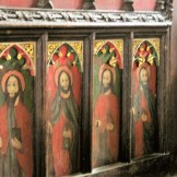 Saints painted on an early panel