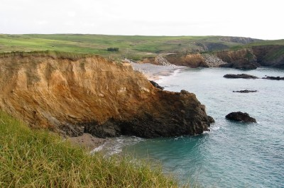 Gunwalloe and Dollar coves from the cliff top