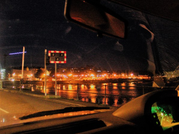 Driving towards penzance at Christmas time