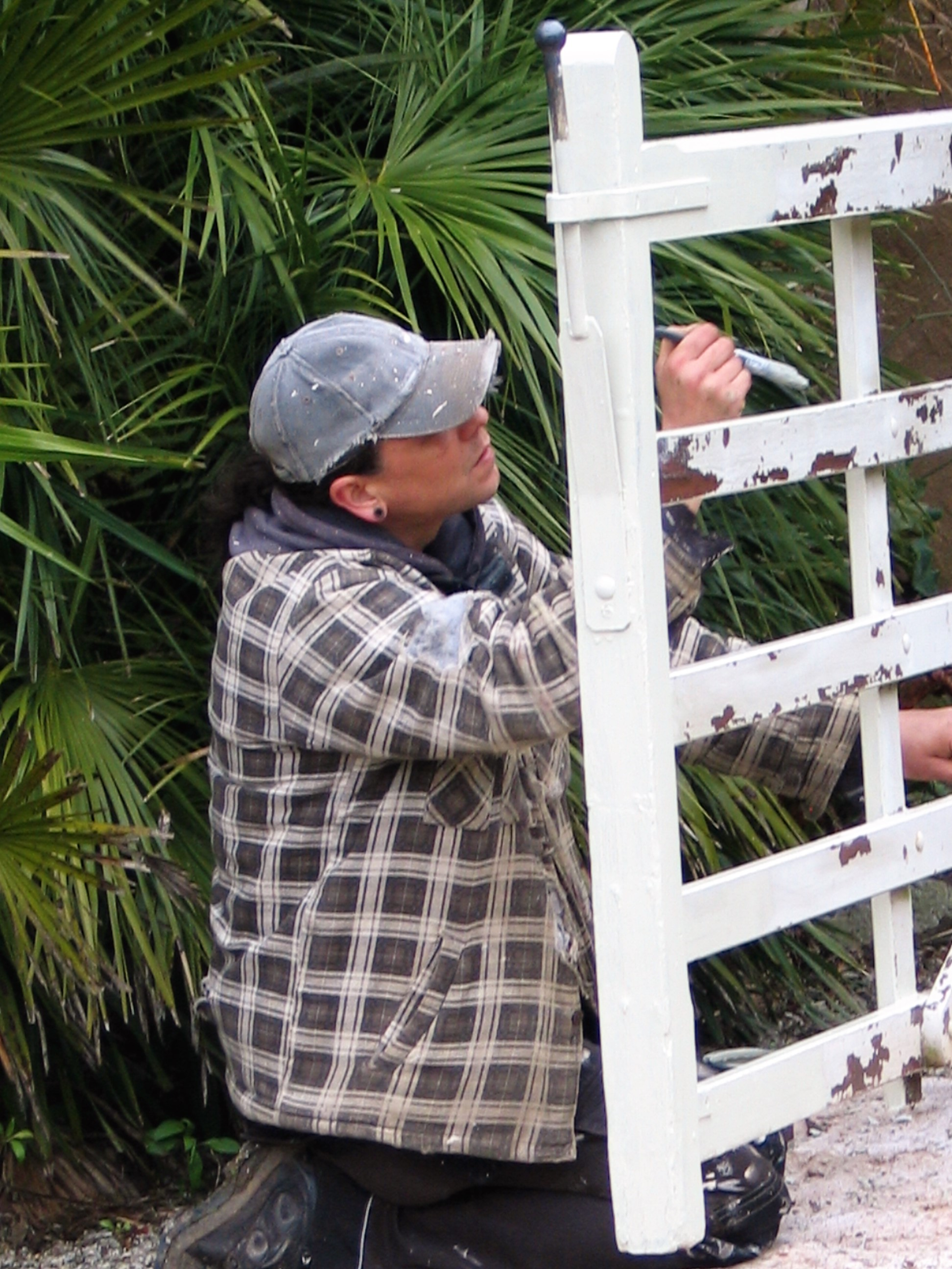 Handy man painting a gate