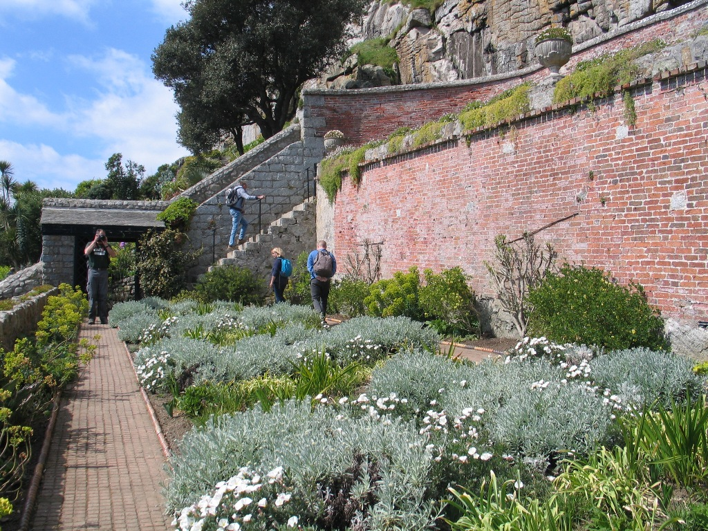 silver and white planting formal garden